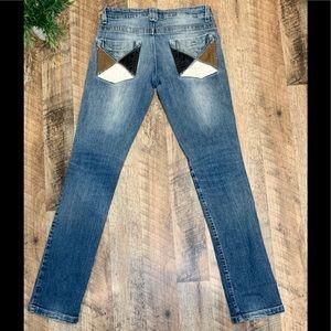 Vintage Skinny Jeans Leather Pockets Size 8